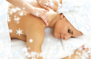 christmas picture of lovely lady relaxing in massage salon
